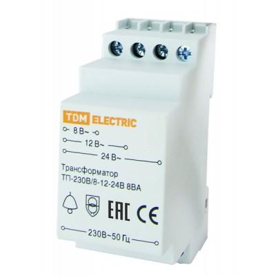 Трансформатор понижающий (звонковый) ТП-230В/8-12-24В 8ВА DIN-рейка TDM